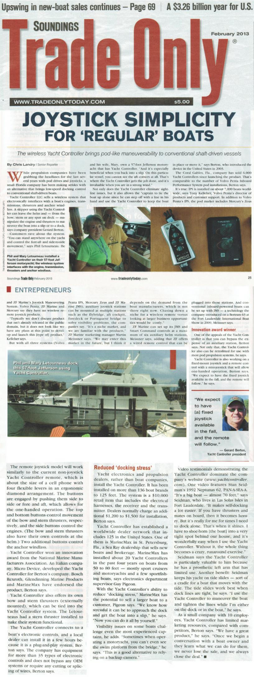 Trade Only - Article on Yacht Controller