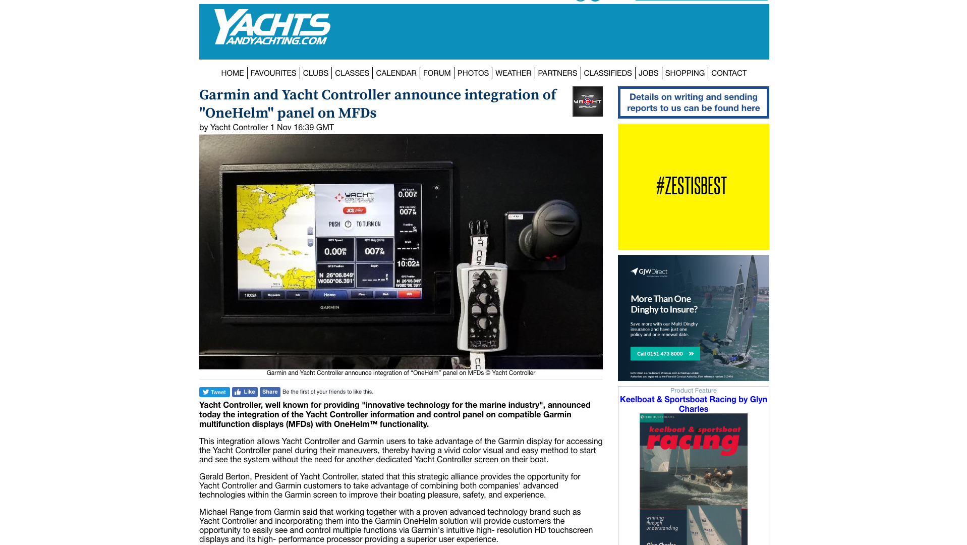 Yacht Controller Wireless Remote Control Of Your The System Has One Mode T You Yachts And Yachting Garmin Announce Integration